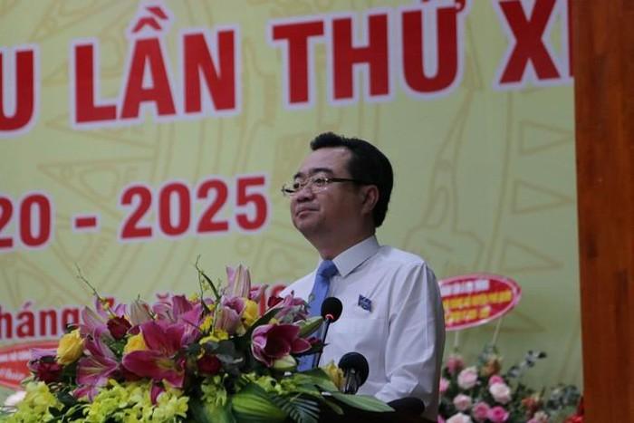 Ông Nguyễn Thanh Nghị - Ủy viên Trung ương Đảng, Bí thư Tỉnh ủy tỉnhKiên Giang phát biểu tại Đại hội