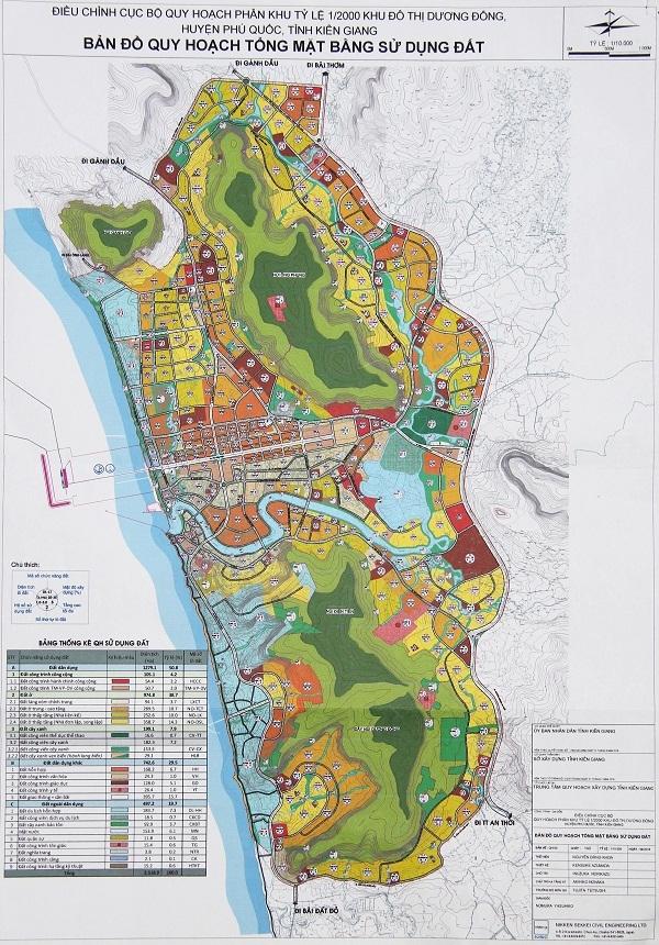 Bản đồ quy hoạch tổng mặt bằng sử dụng đất khu đô thị Dương Đông