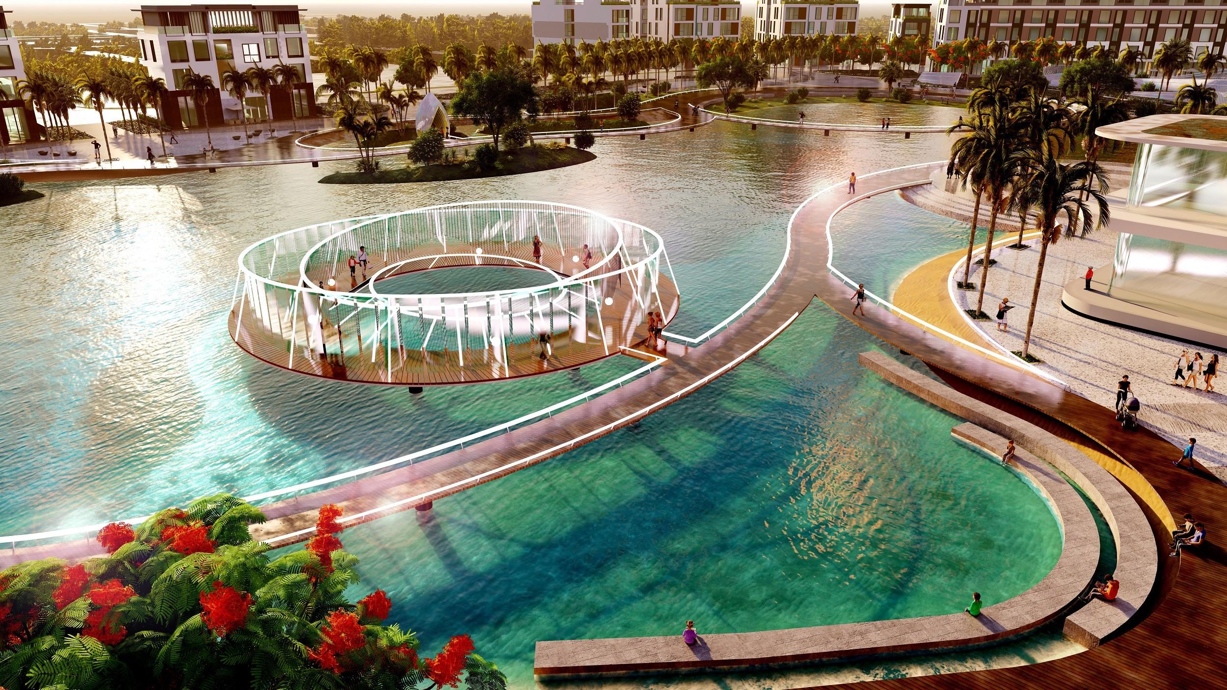 Phối cảnh công viên hồ tại Meyhomes Capital Phú Quốc