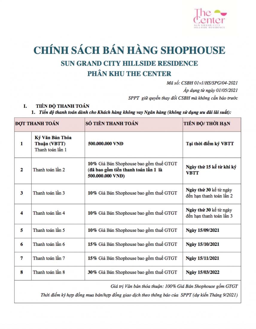 Chính sách bán hàng Shophouse phân khu The Center