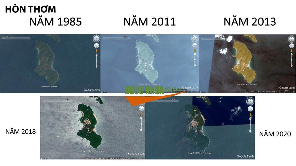 Ảnh chụp vệ tinh từ năm 1985 đến năm 2020 Hòn Thơm đã có tốc độ xây dựng chóng mặt và nó đến từ xây dựng khu vui chơi giải trí SunWorld và khu dân cư đã dịch chuyển về một góc của khu vực Tái Định Cư
