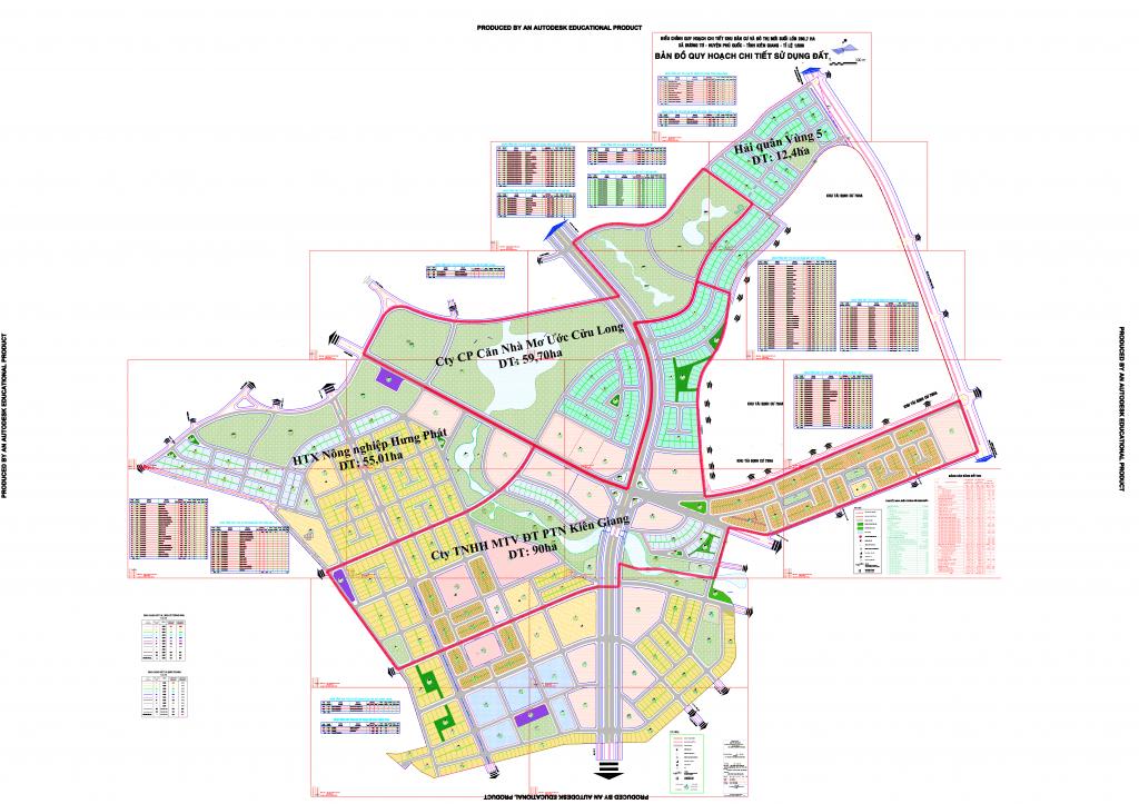 Bản đồ tổ hợp dự án của Tân Á Đại Thành tại Phú Quốc